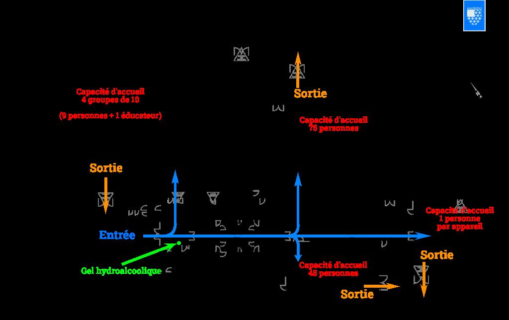 Plan de circulation dans le gymnase durant la COVID19